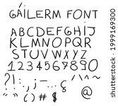handmade pencil alphabet font.... | Shutterstock .eps vector #1999169300