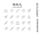 set line icons of nails | Shutterstock .eps vector #1999271729