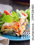 Stock photo vegetable lasagna with zucchini tomato and eggplant 199928480
