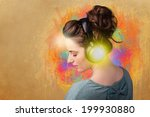 pretty young woman with...   Shutterstock . vector #199930880
