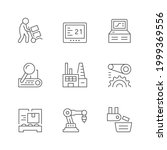 set line icons of production... | Shutterstock . vector #1999369556