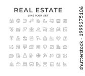 set line icons of real estate... | Shutterstock . vector #1999375106