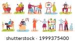 elderly people hobby. older men ... | Shutterstock .eps vector #1999375400