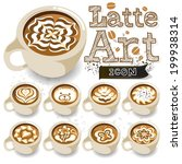 coffee latte art brown cup | Shutterstock .eps vector #199938314