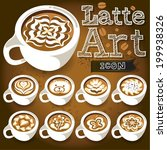 coffee latte art white cup | Shutterstock .eps vector #199938326