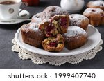 Muffins With Cherries Sprinkled ...