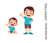 cute little boy say hello with...   Shutterstock .eps vector #1999477943