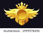 gold round award  crown frame...