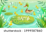 duck family  mom duckling with...   Shutterstock .eps vector #1999587860