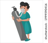 man patient is holding an... | Shutterstock .eps vector #1999590416