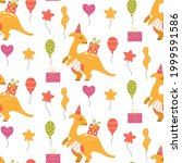 cute dinosaur birthday seamless ...   Shutterstock .eps vector #1999591586