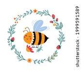 vector honeybee in cartoon...   Shutterstock .eps vector #1999591589