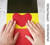 I Love Germany. Hands Puts Red...