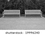 two park benches in black and...   Shutterstock . vector #19996240