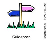 Guidepost Doodle Icon  Editable ...