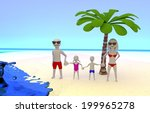 young family at the beach... | Shutterstock . vector #199965278