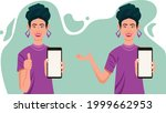 girl showing mobile phone  cute ...   Shutterstock .eps vector #1999662953