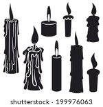 burning candles set | Shutterstock .eps vector #199976063