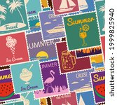 postage stamps seamless pattern ... | Shutterstock .eps vector #1999825940