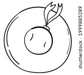 doodle sticker wide brimmed... | Shutterstock .eps vector #1999885289