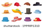 cartoon hats. female and male... | Shutterstock .eps vector #1999891310