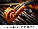 Close Up Detail Of Violin Head...