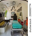 Small photo of Inside of an ambulance for the hospital.