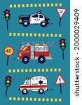 Hand Drawn Emergency City Cars...