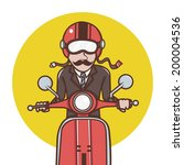 man with red helmet riding a... | Shutterstock .eps vector #200004536