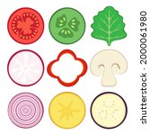 round vegetable halves vector...   Shutterstock .eps vector #2000061980