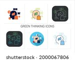 green thinking icons set... | Shutterstock .eps vector #2000067806