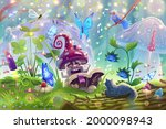mushroom in magic forest with...   Shutterstock .eps vector #2000098943