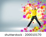 funny girl jumping around... | Shutterstock . vector #200010170