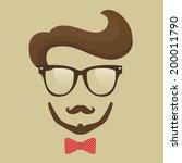 hipster  man. glasses  mustache ...   Shutterstock .eps vector #200011790