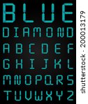 blue diamond font set modern... | Shutterstock .eps vector #200013179