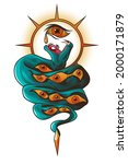 tattoo with snake and eyes....   Shutterstock .eps vector #2000171879