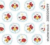 ladybugs seamless pattern....   Shutterstock .eps vector #2000204099