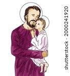 saint joseph with jesus christ  ... | Shutterstock .eps vector #2000241920