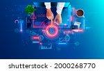 hacked laptop by a hacker....   Shutterstock .eps vector #2000268770