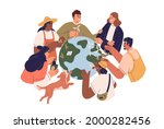 eco friendly people with earth... | Shutterstock .eps vector #2000282456