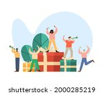 five persons celebrating... | Shutterstock .eps vector #2000285219