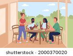friends at outdoor dinner party ...   Shutterstock .eps vector #2000370020