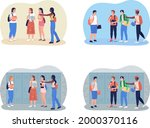 bullying teenagers at school 2d ...   Shutterstock .eps vector #2000370116