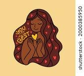 dark skin cartoon female...   Shutterstock .eps vector #2000385950