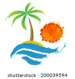 tropical palm on island with... | Shutterstock .eps vector #200039594