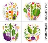 fresh vegetable salads eat... | Shutterstock .eps vector #2000397140