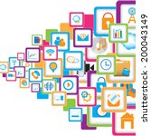 social network icons background ... | Shutterstock .eps vector #200043149