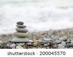 Seashore Background With Stone...