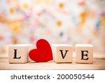 written on wooden blocks love... | Shutterstock . vector #200050544