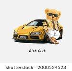 rich club slogan with bear doll ... | Shutterstock .eps vector #2000524523